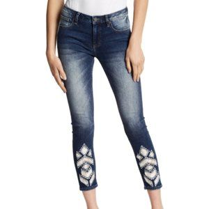 Miss Me Lace Design Ankle Skinny Jeans - 26